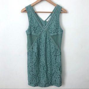 Francesca's Green Lace Sleeveless Dress